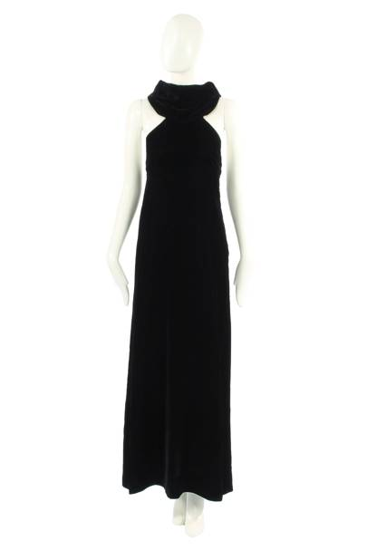 Black velvet halter neck by Madame Gres, 1968