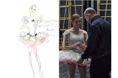 Christian Lacroix's watercolour costume illustration for [i]A Midsummer Night's Dream[/i] and Lacroix making final adjustments during the dress rehearsal