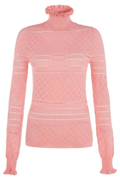 Pink Ruffle Trim Pointelle Knit, £30: