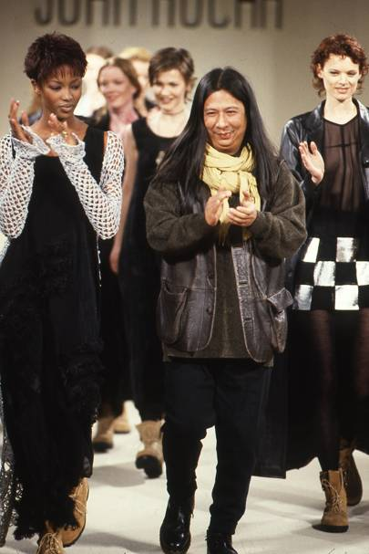 John on the catwalk with Naomi Campbell at his autumn/winter 1993 show