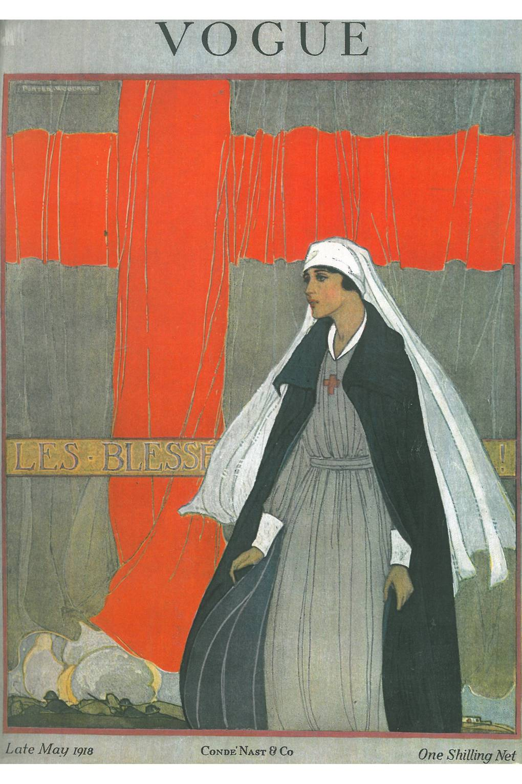 Porter Woodruff illustration on the cover of British Vogue, May 1918