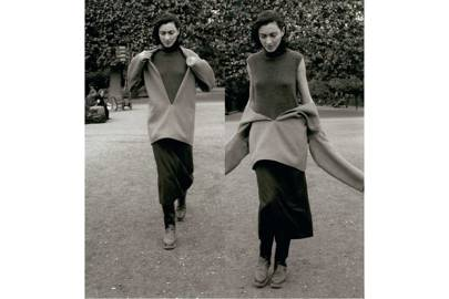 Martin Margiela for Hermès A/W 1998-1999: Vareuse in double-faced cashmere, sleeveless high-neck pullover in cashmere, mid-length skirt in Shetland wool and boots in calfskin, 'Le vêtement comme manière de vivre' for 'Le Monde d'Hermès'