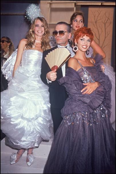Claudia Schiffer, Christy Turlington and Linda Evangelista with Karl Lagerfeld