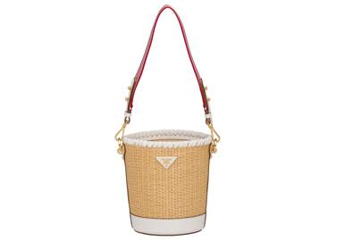 Prada: straw and leather bucket bag