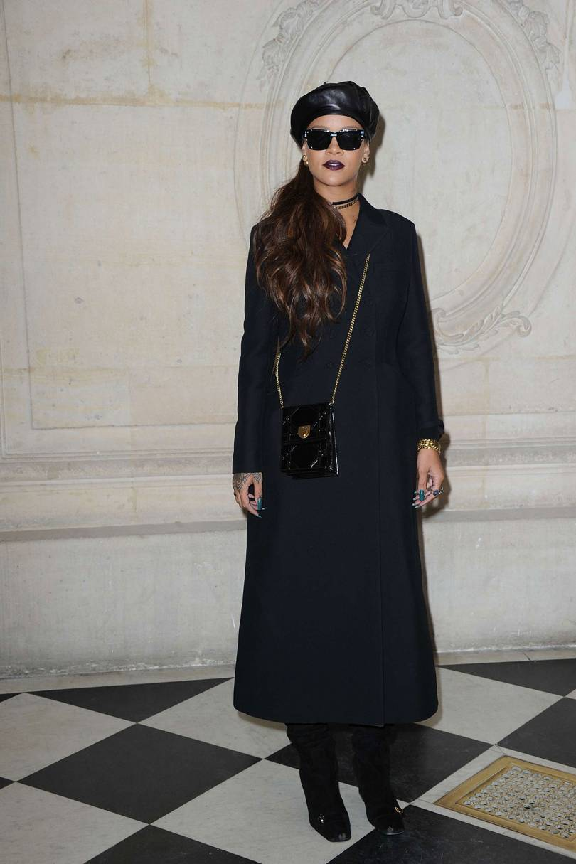 26327708436cb Rihanna attended the Dior 2017 Paris Fashion show sporting a leather beret.  French actress Lou Lesage