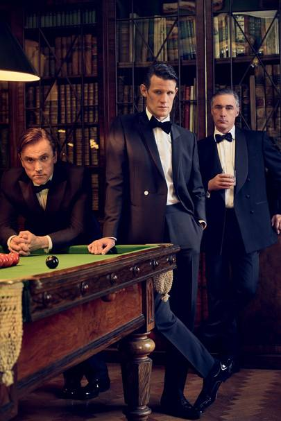 Ben Miles (Peter Townsend) and Matt Smith (Prince Philip) with Greg Wise as Louis Mountbatten