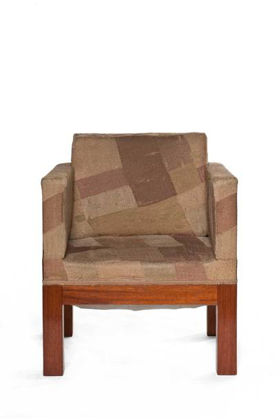 Sonia Delaunay: Dining-room chair in wood, toile with wool embroidery, and velvet, circa 1923