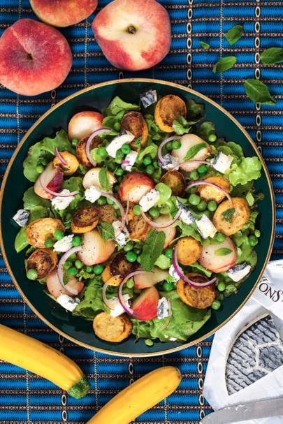 Peach, Pea and Goat's Cheese Salad