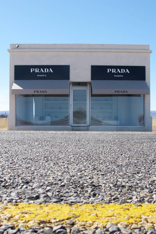 1833c474cce8 Prada Marfa Shop Art Installation Sign Removed Illegal | British Vogue