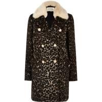 Black Leopard Print Overcoat, £85: