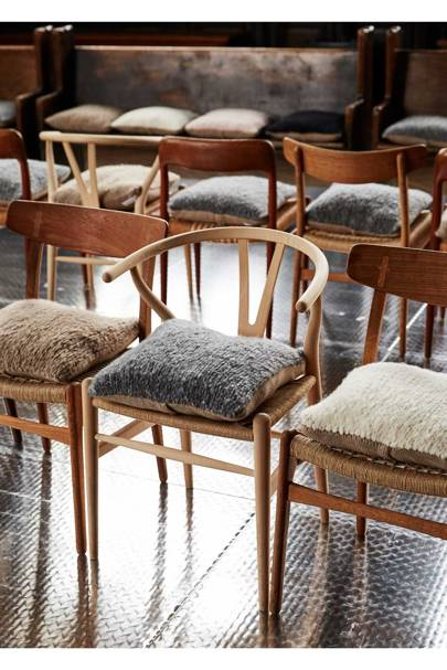 For Gabriela Hearst's debut fashion show, she brought chairs from her own home and designed cushions out of leftover cashmere and merino wool that were made by the women's co-operative, Manos del Uruguay