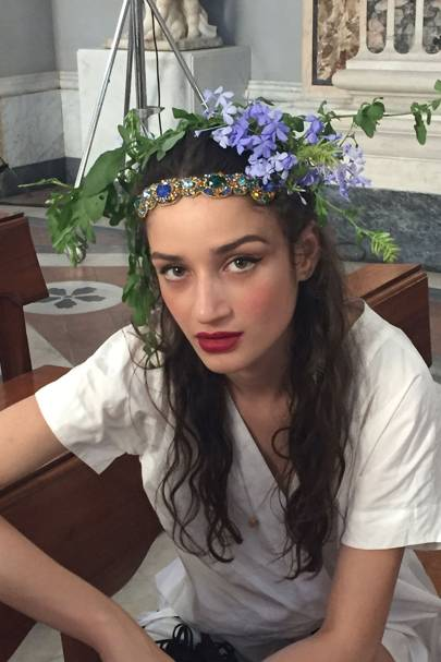 Flowers adorned the hair of the models.