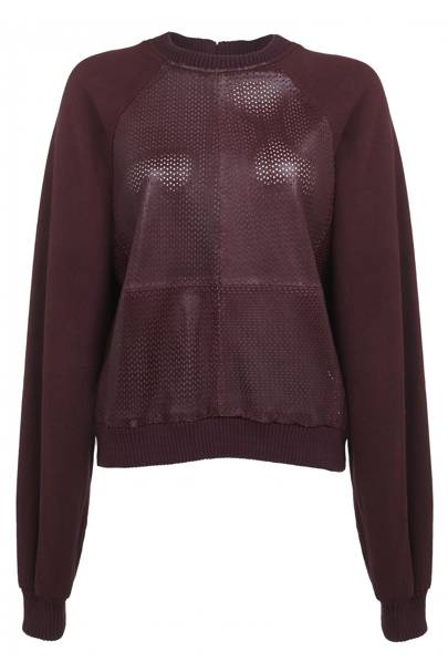 Red limited edition leather mesh jumper, £80