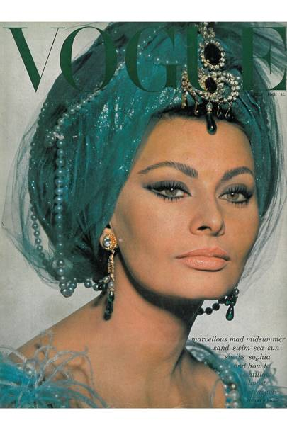 "Sophia Loren photographed by David Bailey during the shooting of her newest film, Lady L, at Castle Howard, York. Here, as Lady L dressed as a Turkish dancer for the masked ball scene when her aristocratic husband (David Niven) appears as Macbeth, her anarchist liver (Paul Newman) as Casanova. Adapted from Roman Gary's novel by Peter Ustinov, who also directs and plays the part of a Bavarian prince.   Poppy Devlin talks to Andy Warhol and Vogue fashion looks at ""sunset prints"", florals and resort looks."