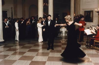 The midnight blue velvet gown by Victor Edelstein (Washington DC, November 1985)