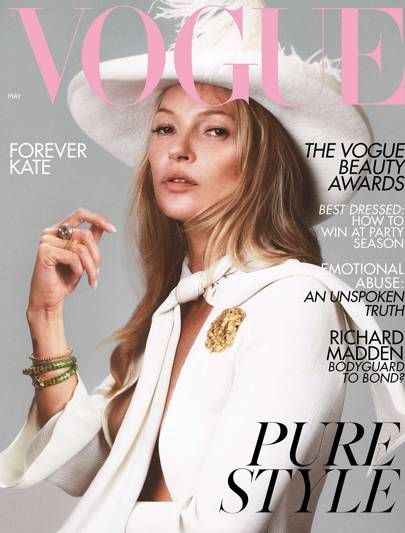 a43a9d896182 May 2019. Kate Moss covers the May 2019 issue of British Vogue ...