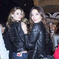 Lily Aldridge and Behati Prinsloo model the bespoke London Show jackets at the Bond Street store