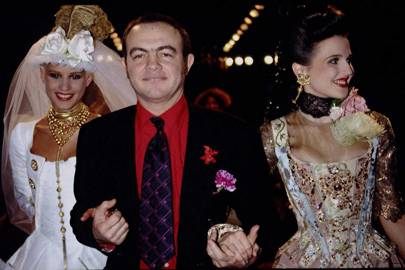 Christian Lacroix takes a bow after his Haute-Couture 1994 show