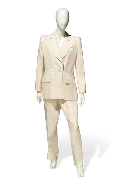 Yves Saint Laurent ivory trouser suit