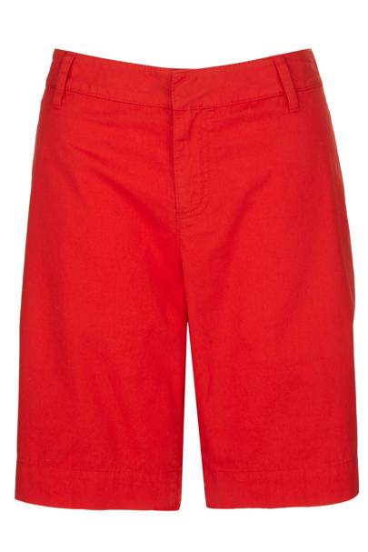 Red twill shorts, £35