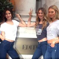 Lily Aldridge, Behati Prinsloo and Karlie Kloss outside their London hotel, The Edition