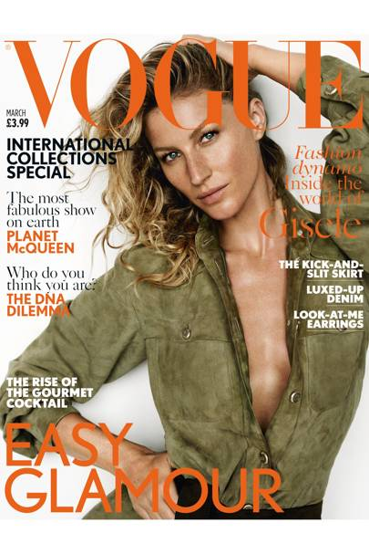 Gisele Bundchen wears suede shirt, £5,595, Chanel. Suede belt from £190, Ter & Bantine. Hair: Christiaan. Make-up: Lucia Pica. Fashion editor: Lucinda Chambers. Photographer: Mario Testino.