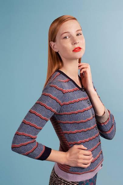 Cashmere striped lace knit cardigan, £395