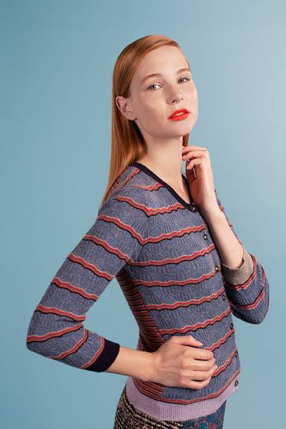 Cashmere striped lace knit cardigan, £395