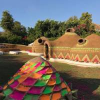 The hand-made Holi mud huts took six weeks to make