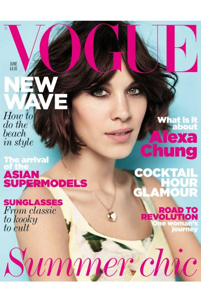 For her second Vogue cover Alexa Chung – who in this month's issue reveals an obsession for horse-riding when she was younger and, now, a love for making things - wears a patchwork silk/cotton dress, £1,260, Erdem, at Dover Street Market. Locket, Alexa's own. Make-up by Max Factor. Hair by Wella Professional. Hair: Shon. Make-up: Hannah Murray. Digital artwork: Jon Hempstead. Fashion editor: Kate Phelan. Photographer: Josh Olins.