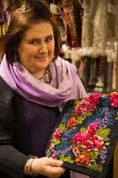 Admiring a floral embroidery sample at the Chanakya Mumbai workshop