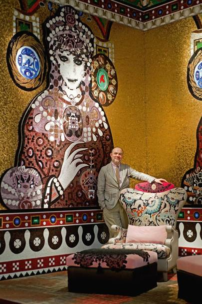 Christian Lacroix with his furniture collection for mosaic manufacturer, SICIS