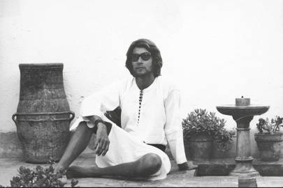 Yves Saint Laurent in the 1970s at the Dar el Hanch (House of the Snakes), the first house he bought with Bergé in the Medina of Marrakesh
