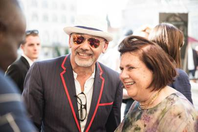 Christian Louboutin with Suzy at the Bike Polo match