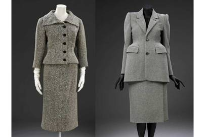 Left, a skirt suit in wool tweed lined with silk by Cristobal-Balenciaga, Paris, 1954; right, a skirt suit in wool and silk by Demna Gvasalia for Balenciaga, Paris, Autumn/Winter 2016 ready-to-wear
