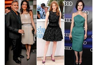 Fans of Paul Andrew's shoes include, from left, barrister Amal Clooney (pictured with husband George), and actresses Jessica Chastain and Michelle Dockery