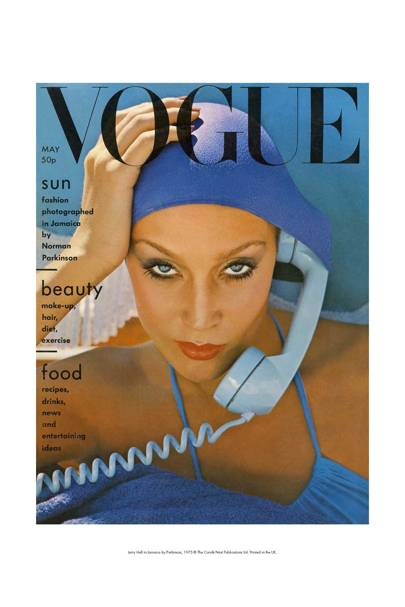 Vogue Cover Jerry Hall in Jamaica by Norman Parkinson 1975 mini print