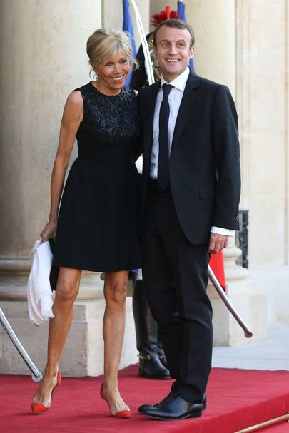 At a gala to welcome Spain's King Felipe VI and Queen Letizia to Paris in June 2015, wearing Gianvito Rossi shoes