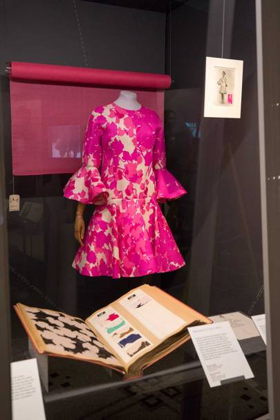 A Balenciaga dress from the 1960s, with its sketch and moodboard book from the Balenciaga archive