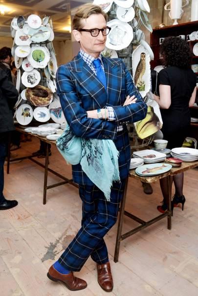 Hamish Bowles wearing tartan