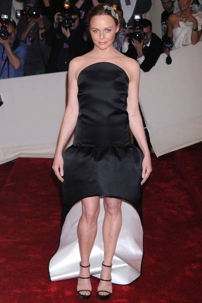 "MAY 2011 - Gala co-chair Stella McCartney in a black strapless dress and platform sandals from her label.   <A target=""_blank"" href="" http://www.vogue.co.uk/celebrity-photos/100211-alexander-mcqueen-a-life-in-fashion/gallery.aspx"">[b]SEE ALEXANDER MQUEEN'S FASHION MOMENTS[/b]</a>"