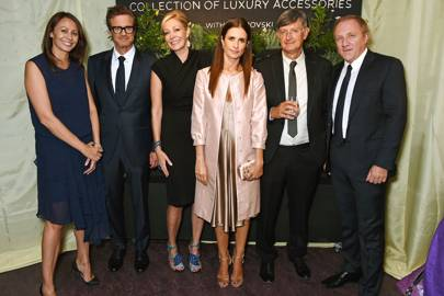 Caroline Rush, BFC, Colin Firth, Nadja Swarovski, Livia Firth, Angelo Ruggeri the design director of Sergio Rossi, Giovanni Giunchedi, CEO of Sergio Rossi, and François-Henri Pinault, CEO of Kering, attend the launch of the Sergio Rossi Green Carpet Collection of luxury accessories