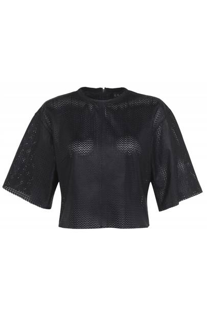 Leather crop top, £70