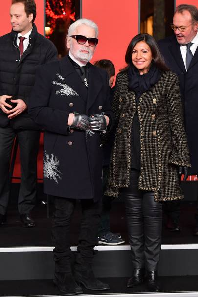 Karl Lagerfeld and Mayor of Paris Anne Hidalgo attend the Christmas Lights Launch On The Champs Elysees, Paris – November 22 2018