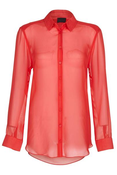 Red chiffon shirt, £40