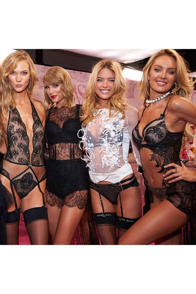 Karlie Kloss lines up with fellow blondes Taylor Swift, Martha Hunt and Candice Swanepoel
