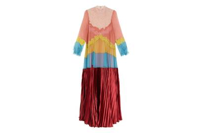 Valentino's statement rainbow gown with lace detailing is versatile and glamorous enough for any number of events over the summer season