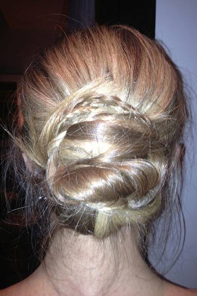 Messy plaited bun/Oscar hair.