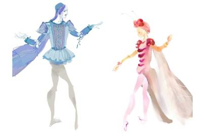 Christian Lacroix's watercolour costume illustrations for [i]A Midsummer Night's Dream[/i]