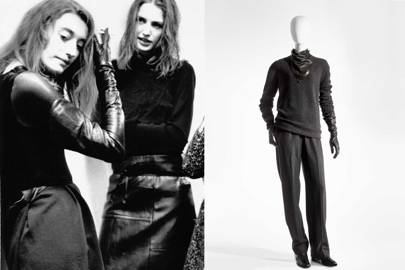 2886735d007d Left, Maison Martin Margiela A W 1992-1993. Photo  Marina Faust. Right,  Martin Margiela for Hermès A W 2002-2003  tunic pullover in cashmere, pants  in ...
